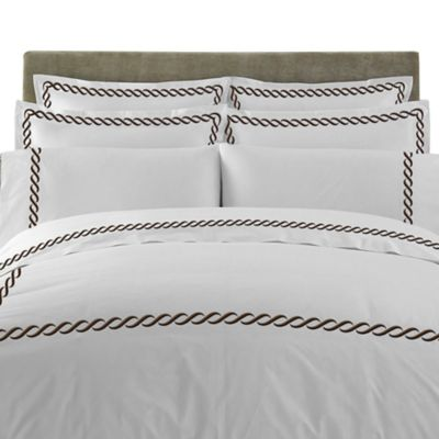 T-Y Group Cable Embroidered European Pillow Sham in Chocolate (Set of 2)