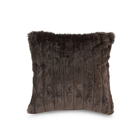Faux Fur Mink 26-Inch Square Toss Pillow in Chocolate