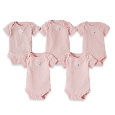 Burt's Bees Baby® Preemie 5-Pack Organic Cotton Short Sleeve Bodysuit in Blossom