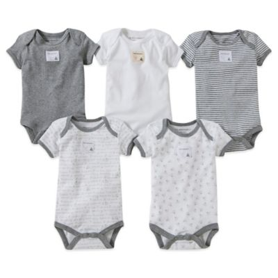 Burt's Bees Baby™ Preemie 5-Pack Organic Cotton Short Sleeve Bodysuit in Mixed Grey