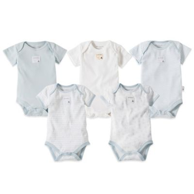 Burt's Bees Baby™ Preemie 5-Pack Organic Cotton Short Sleeve Bodysuit in Mixed Light Blue
