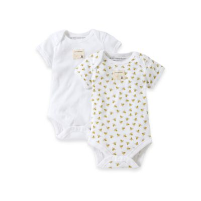Burt's Bees Baby™ Preemie 2-Pack Organic Cotton Short Sleeve Bodysuits in Bee Print/Solid White