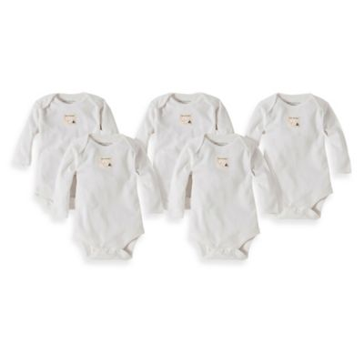 Burt's Bees Baby® Preemie 5-Pack Organic Cotton Long Sleeve Bodysuit in Cloud