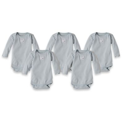 Burt's Bees Baby™ Preemie 5-Pack Organic Cotton Long Sleeve Bodysuit in Sky