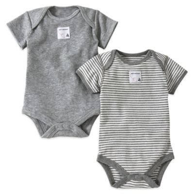 Burt's Bees Baby® Preemie 2-Pack Organic Cotton Short-Sleeve Bodysuit in Grey