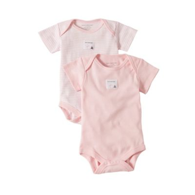 Burt's Bees Baby® Size 0-3M 2-Pack Organic Cotton Short Sleeve Bodysuits in Stripe/Solid Pink