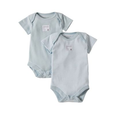 Burt's Bees Baby™ Preemie 2-Pack Organic Cotton Short Sleeve Bodysuits in Stripe/Solid Blue