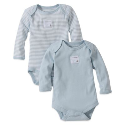 Burt's Bees Baby™ Preemie 2-Pack Organic Cotton Long Sleeve Bodysuits in Stripe/Solid Blue