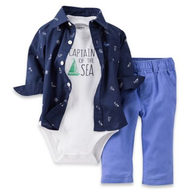 "Carter's® Size 12M 3-Piece ""Captain of the Sea"" Shirt, Bodysuit, and Pant Set"