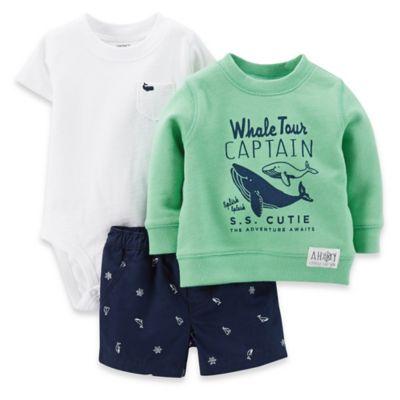 "Carter's® 18M 3-Piece Size ""Whale Tour Captain"" Bodysuit, Sweatshirt and Short Set in Green/Navy"