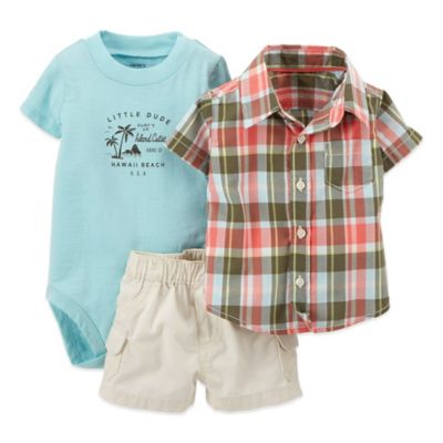 Carter's® Size 24M 3-Piece Little Dude Bodysuit, Plaid Shirt, and Cargo Short Set
