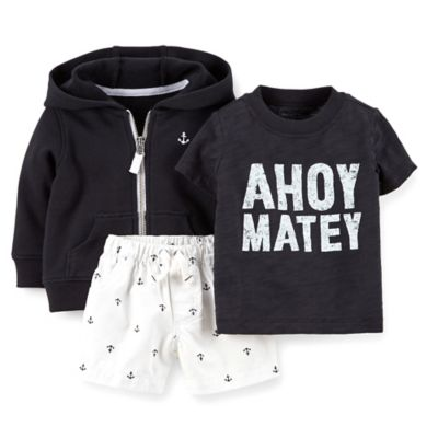 Carter's® Size 6M 3-Piece Ahoy Matey T-Shirt, Jacket, and Short Set in Black/White