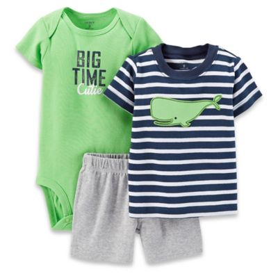 "Carter's® 3-Piece ""Big Time Cutie"" Bodysuit, T-Shirt, and Short Set in Green/Navy"