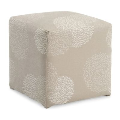 Dwell Home Axis Sunflower Cube Ottoman in Ivory