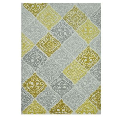 Jadou Tufted Wool 2-Foot x 7-Foot Runner in Malibu Gold/Grey