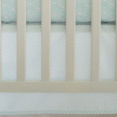 Oliver B Mix & Match Flat Panel Striped Crib Skirt Sea Green/White