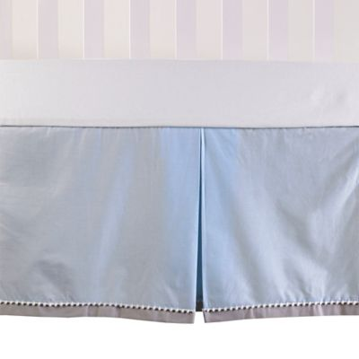 Living Textiles Baby Mix & Match Poplin Crib Skirt in Blue/Grey