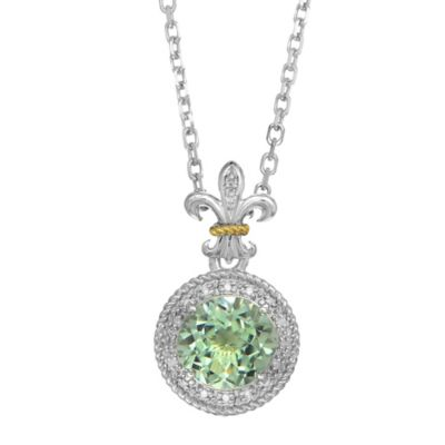 Phillip Gavriel Sterling Silver .09 cttw Diamond and Green Amethyst Fleur de Lis Pendant Necklace