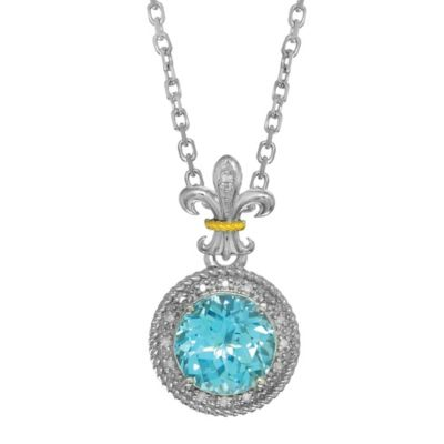 Phillip Gavriel Sterling Silver .09 cttw Diamond and Blue Topaz Fleur de Lis Pendant Necklace
