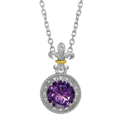 Phillip Gavriel Sterling Silver .09 cttw Diamond and Amethyst Fleur de Lis Pendant Necklace
