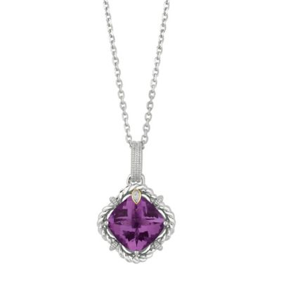 Phillip Gavriel Sterling Silver .01 cttw Diamond and Faceted Amethyst Twist Pendant Necklace