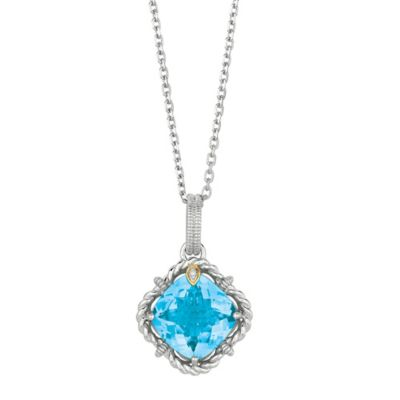 Phillip Gavriel Sterling Silver .01 cttw Diamond and Faceted Blue Topaz Twist Pendant Necklace