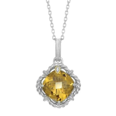 Phillip Gavriel Sterling Silver .01 cttw Diamond and Faceted Whiskey Quartz Twist Pendant Necklace