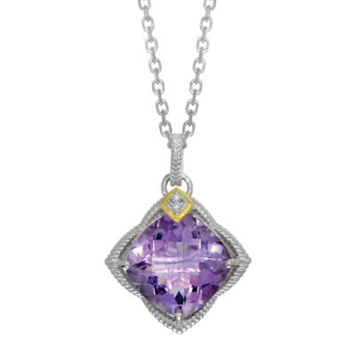 Phillip Gavriel Sterling Silver/18K Gold .02 cttw Diamond and Faceted Amethyst Pendant Necklace