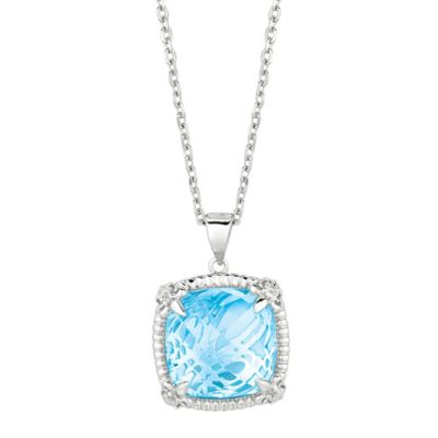 Phillip Gavriel Rhodium Plated Sterling Silver Blue Topaz and White Sapphire Pendant Necklace