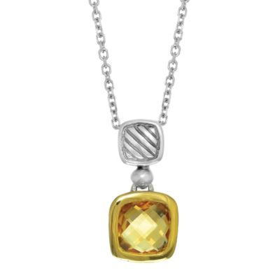 Phillip Gavriel Sterling Silver and 18K Gold Cushion Cut Citrine Pendant Necklace