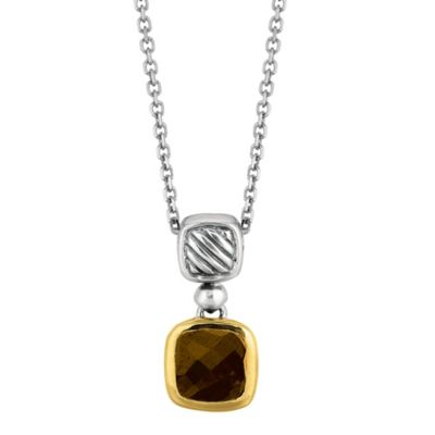 Phillip Gavriel Sterling Silver and 18K Gold Cushion Cut Smokey Topaz Cable Pendant Necklace