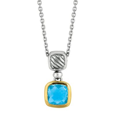 Phillip Gavriel Sterling Silver and 18K Gold Cushion Cut Blue Topaz Cable Pendant