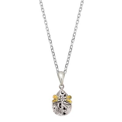 Phillip Gavriel Sterling Silver and 18K Gold Oval Dragonfly Pendant