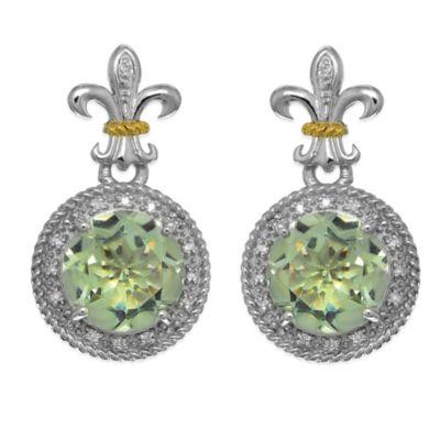 Phillip Gavriel Sterling Silver/18K Gold .17 cttw Diamond and Green Amethyst Fleur De Lis Earrings