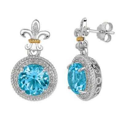 Phillip Gavriel Sterling Silver/18K Gold .17 cttw Diamond and Blue Topaz Fleur De Lis Earrings