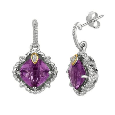 Phillip Gavriel Sterling Silver/18K Gold .02 cttw Diamond and Faceted Amethyst Earrings