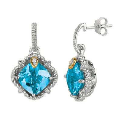 Phillip Gavriel Sterling Silver/18K Gold .02 cttw Diamond and Faceted Blue Topaz Earrings