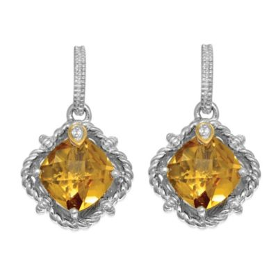 Phillip Gavriel Sterling Silver/18K Gold .02 cttw Diamond and Faceted Whiskey Quartz Earrings
