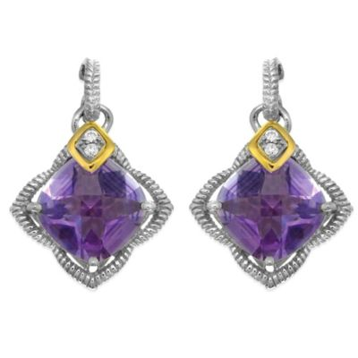 Phillip Gavriel Sterling Silver/18K .04 cttw Diamond and Faceted Amethyst Earrings
