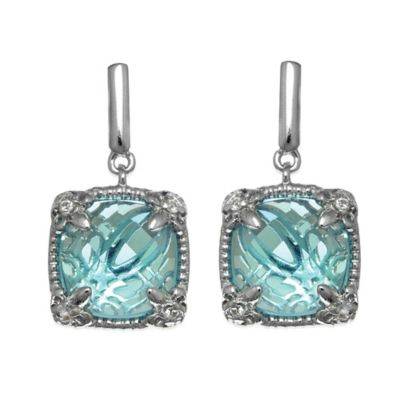 Phillip Gavriel Sterling Silver White Sapphire and Square Blue Topaz Dangle Earrings