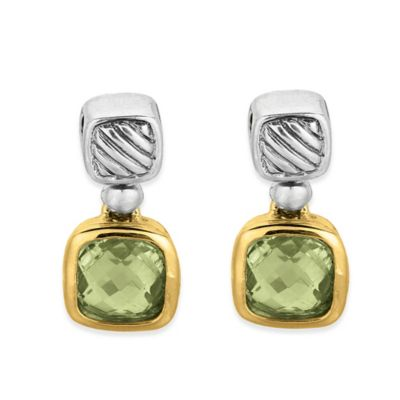 Phillip Gavriel Sterling Silver and 18K Gold Cushion Cut Green Amethyst Cable Earrings
