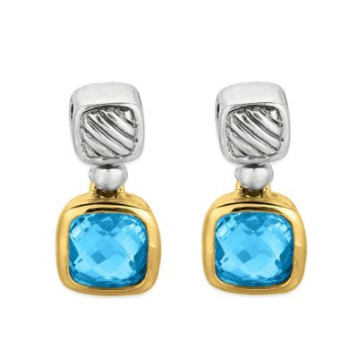 Phillip Gavriel Sterling Silver and 18K Gold Cushion Cut Blue Topaz Cable Earrings
