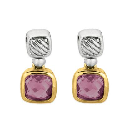 Phillip Gavriel Sterling Silver and 18K Gold Cushion Cut Amethyst Cable Earrings