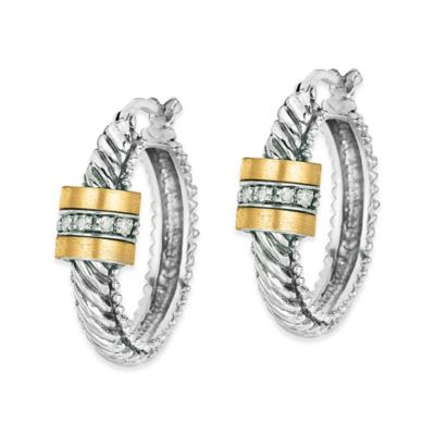 Phillip Gavriel Sterling Silver and 18K Gold .10 cttw Diamond Twisted Cable Hoop Earrings