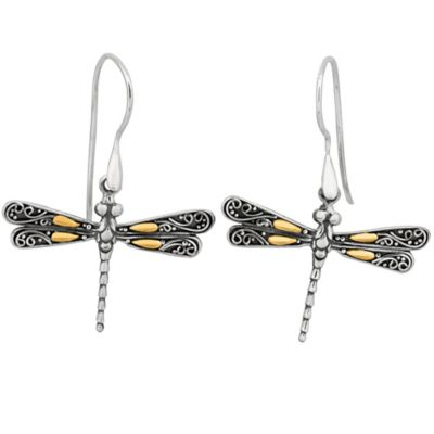 Sterling Silver and 18K Gold Dragonfly Earrings