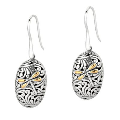 Phillip Gavriel Sterling Silver and 18K Gold Oval Dragonfly Earrings