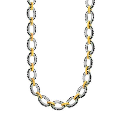 Phillip Gavriel Sterling Silver and 18K Gold 18-Inch Oval Cable Link Necklace