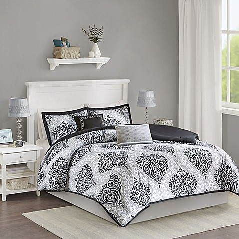 buy senna reversible twin twin xl comforter set in black from bed bath beyond. Black Bedroom Furniture Sets. Home Design Ideas