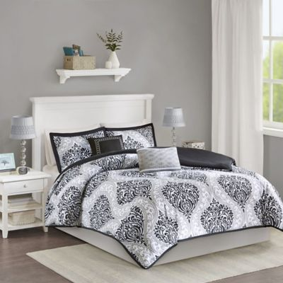 Senna Reversible Full/Queen Duvet Cover in Black