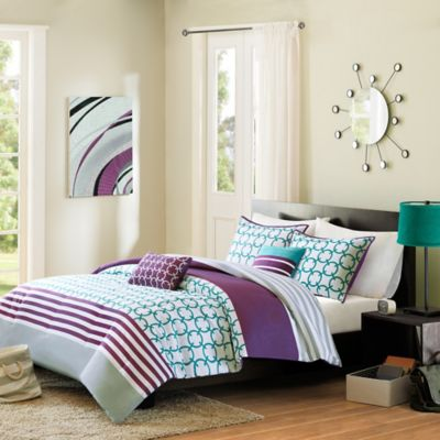 Halo Reversible Full/Queen Comforter Set in Teal